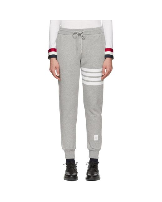 Thom Browne - Gray Grey Classic Four Bar Lounge Pants - Lyst