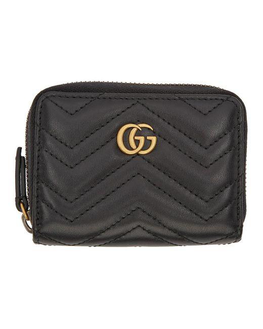 Gucci Black GG Marmont Zip Around Wallet