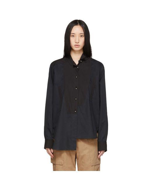 Loewe ブラック パール アシンメトリ シャツ Black