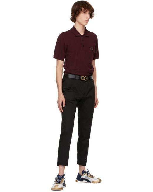 メンズ Dolce & Gabbana ブラック Dg ロゴ レザー ベルト Black