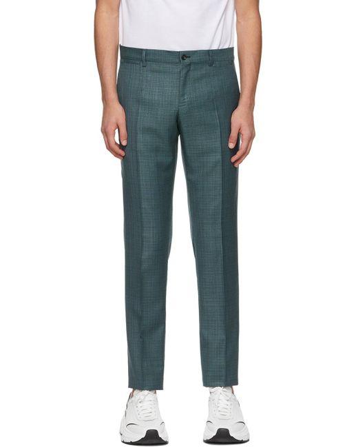 メンズ Dolce & Gabbana グリーン Flat Front トラウザーズ Green