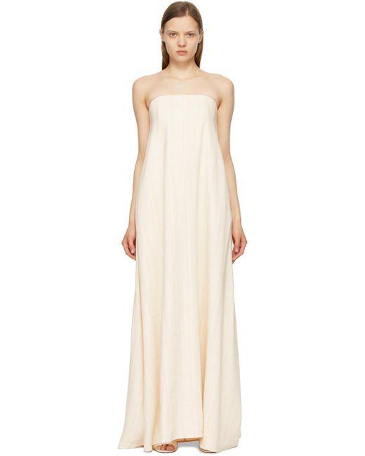 Anna Quan ベージュ Delfina Column ストラップレス ドレス Natural