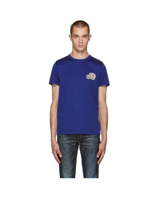 メンズ Moncler ブルー ロゴ T シャツ Blue
