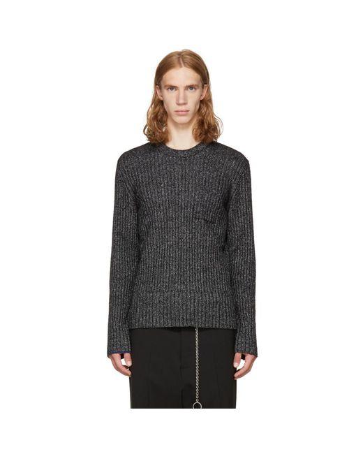 Maison Margiela - Black & Off-white Ribbed Sweater for Men - Lyst