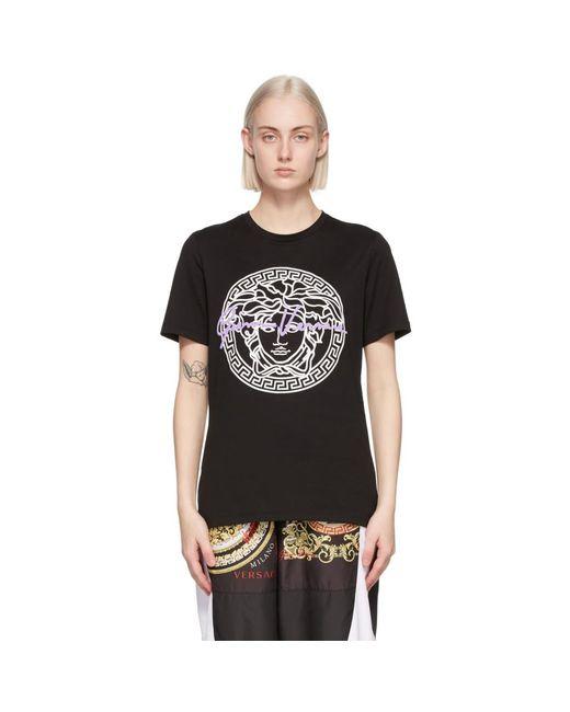 Versace ブラック Medusa モチーフ T シャツ Black