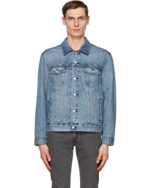 メンズ Levi's ブルー デニム トラッカー ジャケット Blue