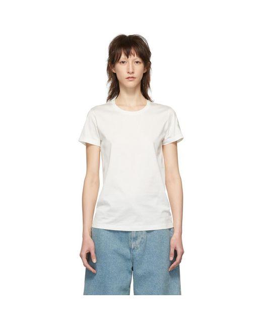 Moncler ホワイト トーナル ロゴ T シャツ White