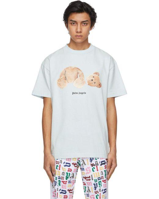 メンズ Palm Angels ブルー Bear T シャツ Blue