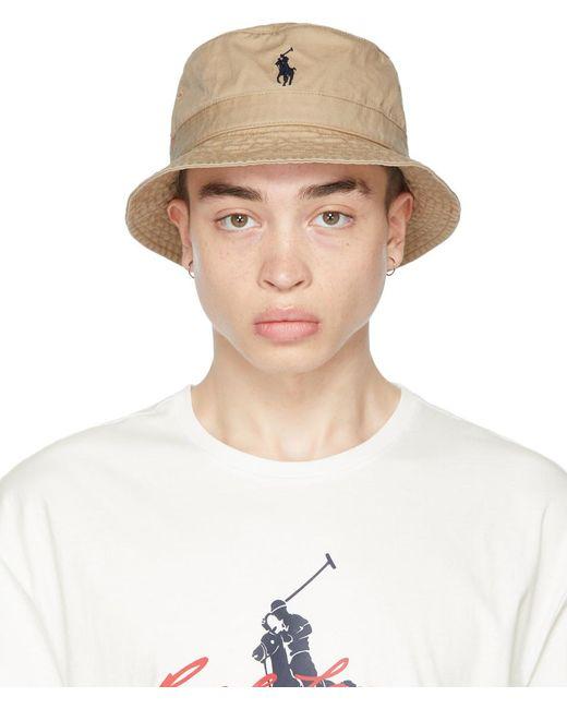 メンズ Polo Ralph Lauren カーキ バケット ハット Natural