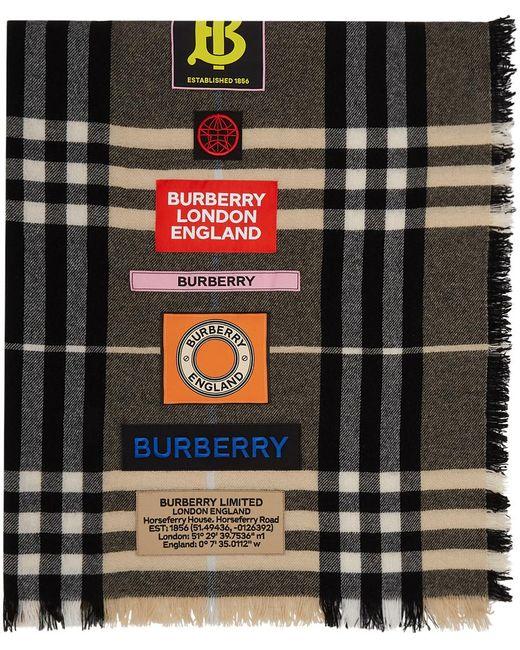 メンズ Burberry ブラウン ジャイアント チェック ロゴ スカーフ Blue