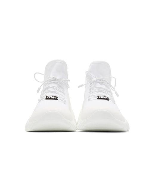 メンズ Fendi ホワイト テック ニット ハイトップ スニーカー White