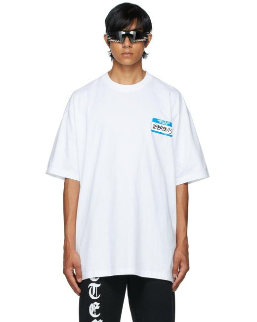 メンズ Vetements ホワイト My Name Is T シャツ White