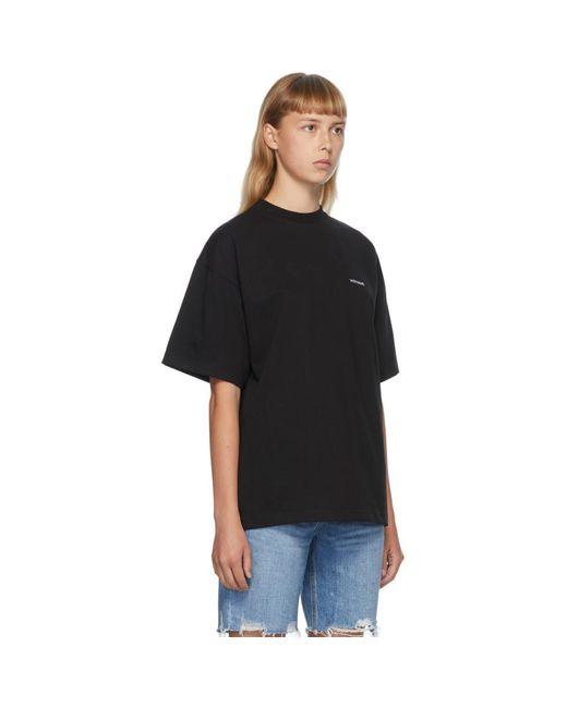 we11done ブラック ハイネック ロゴ T シャツ Black