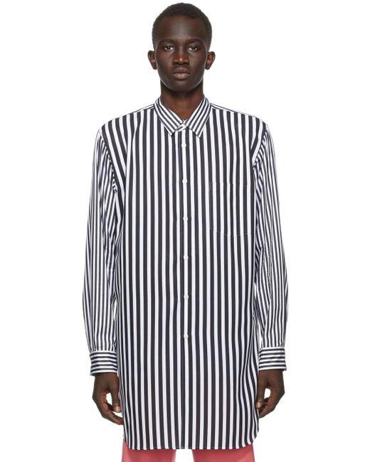 メンズ Comme des Garçons ブラック & ホワイト ブロードクロス ストライプ シャツ White