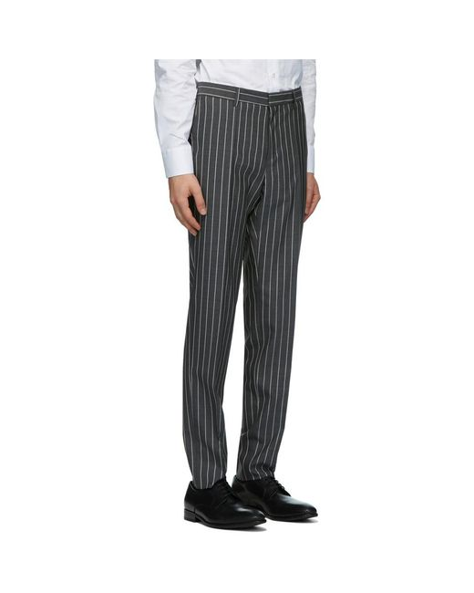 メンズ BOSS by Hugo Boss グレー ストライプ Novan スーツ Gray