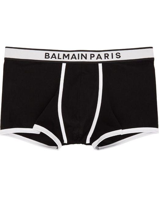 メンズ Balmain ブラック & ホワイト ロゴ ボクサー Black