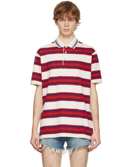 メンズ Gucci オフホワイト ストライプ ロゴ ポロシャツ Multicolor