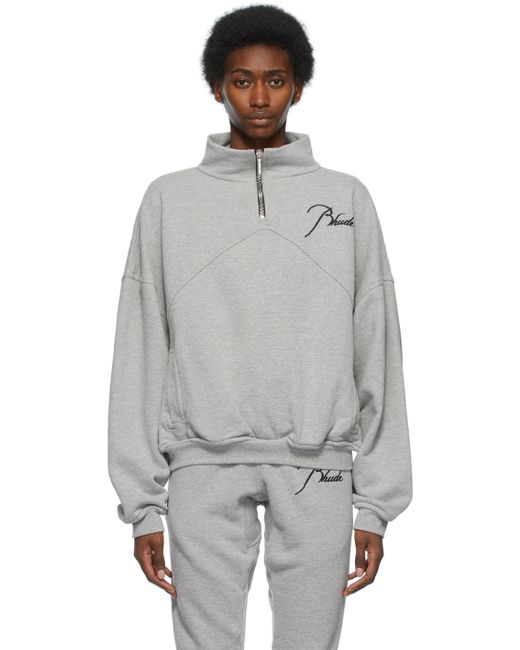 Rhude グレー Quarter Zip スウェットシャツ Gray