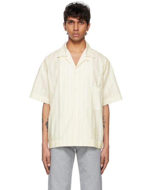 メンズ Maison Margiela オフホワイト ストライプ シャツ White