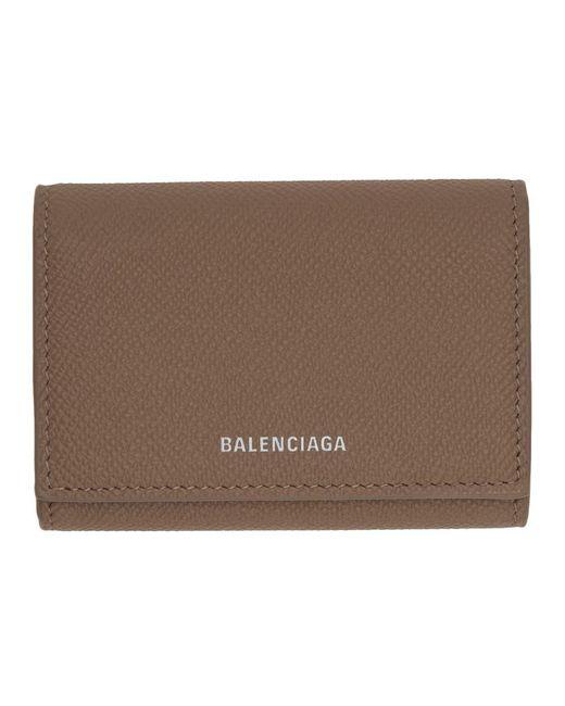 Balenciaga トープ ヴィル アコーディオン カード ホルダー Brown