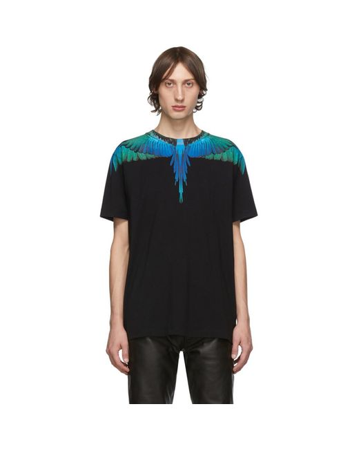 メンズ Marcelo Burlon ブラック And ブルー ウィング T シャツ Black