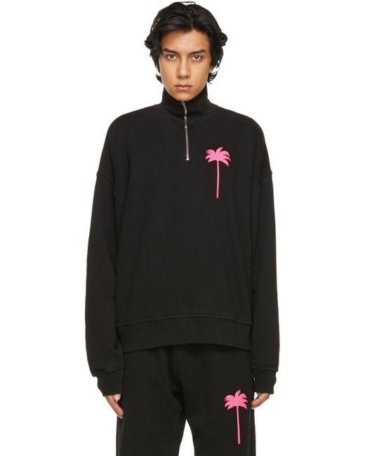 メンズ Palm Angels ブラック Palm Tree タートルネック スウェットシャツ Black