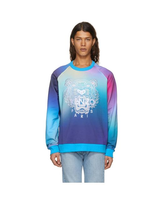 KENZO - Blue Printed Sweatshirt for Men - Lyst
