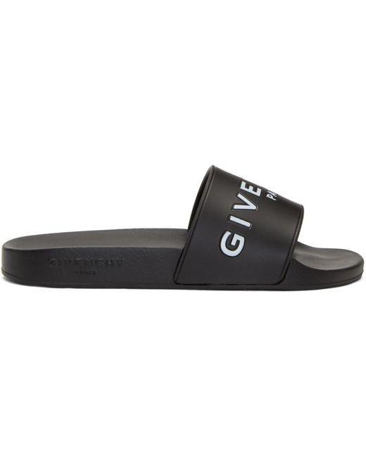 Givenchy   Black Logo Slides   Lyst
