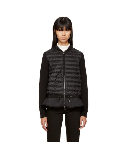 Moncler - Black Down Knit Peplum Jacket - Lyst