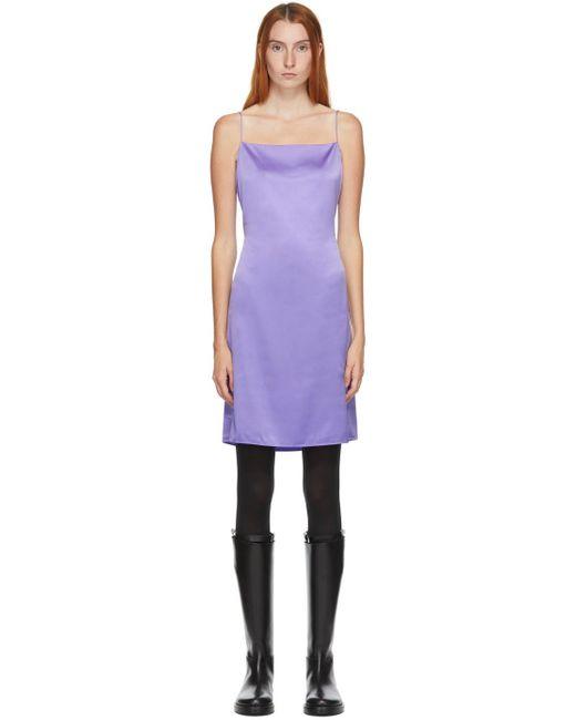 Helmut Lang Ssense 限定 パープル シルク オープン バック ミニ ドレス Purple