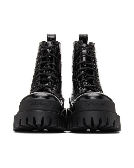 Balenciaga ブラック クロコ Strike アンクル ブーツ Black