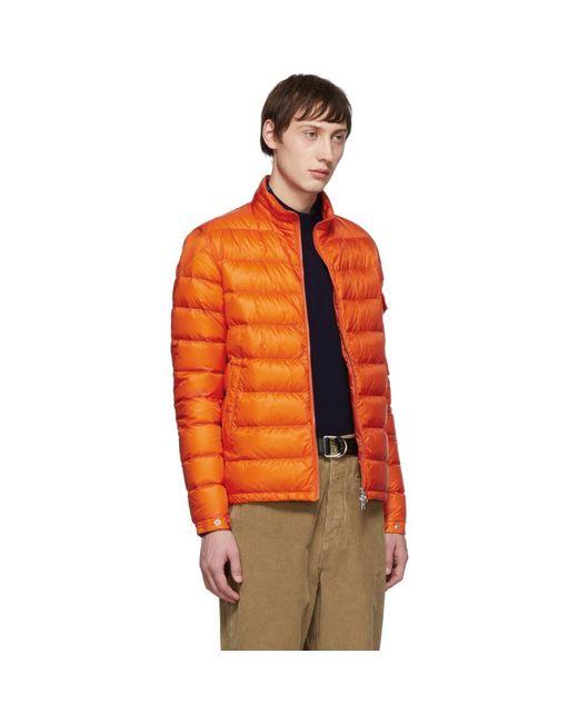 メンズ Moncler オレンジ ダウン Lambot ジャケット Orange