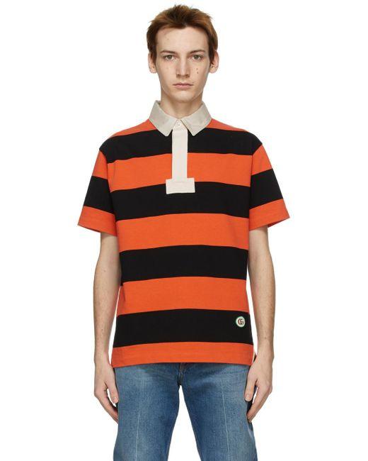メンズ Gucci オレンジ ストライプ ポロシャツ Orange