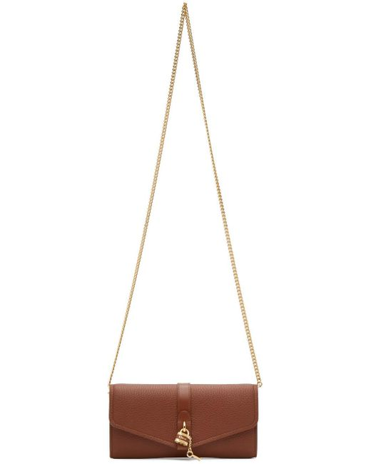 Chloé ブラウン Aby チェーン ウォレット バッグ Brown