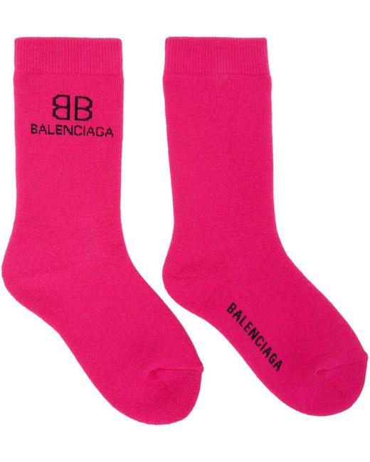 Balenciaga ピンク & ブラック Bb ソックス Pink