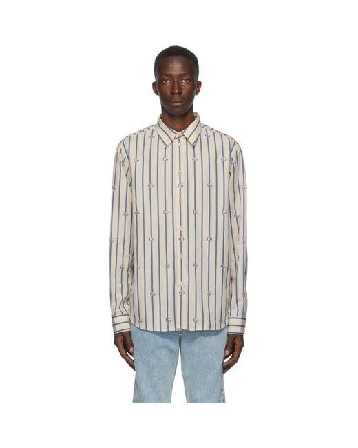 メンズ Gucci ブルー And オフホワイト ポプリン ストライプ シャツ Multicolor