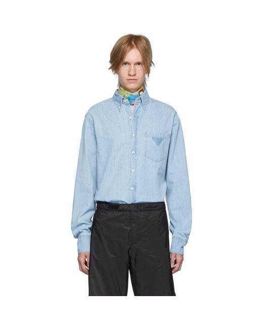 メンズ Prada ブルー デニム シャツ Blue