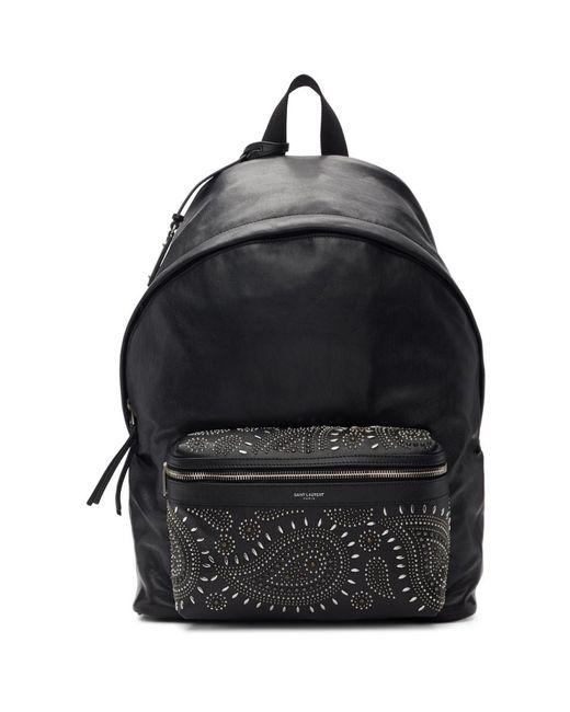 212ca8fba Saint Laurent Black Bandana Stud City Backpack in Black for Men - Lyst
