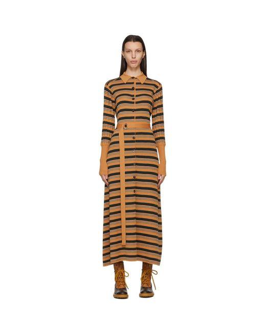 Chloé タン ストライプ ドレス Multicolor