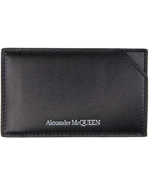 メンズ Alexander McQueen ブラック ロゴ カード ケース Black
