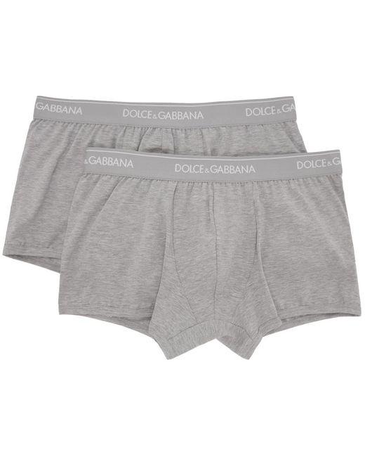 メンズ Dolce & Gabbana グレー レギュラー ボクサー ブリーフ 2 枚セット Gray