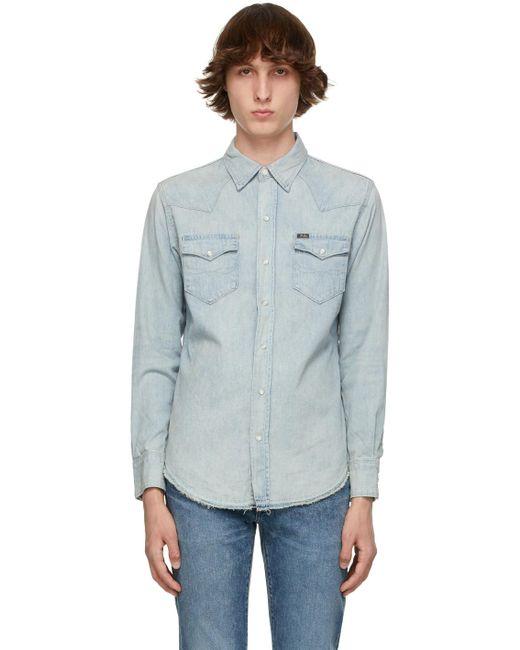 メンズ Polo Ralph Lauren ブルー Chambray デニム シャツ Blue