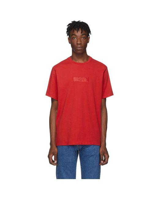 メンズ Levi's レッド リラックス ロゴ T シャツ Red