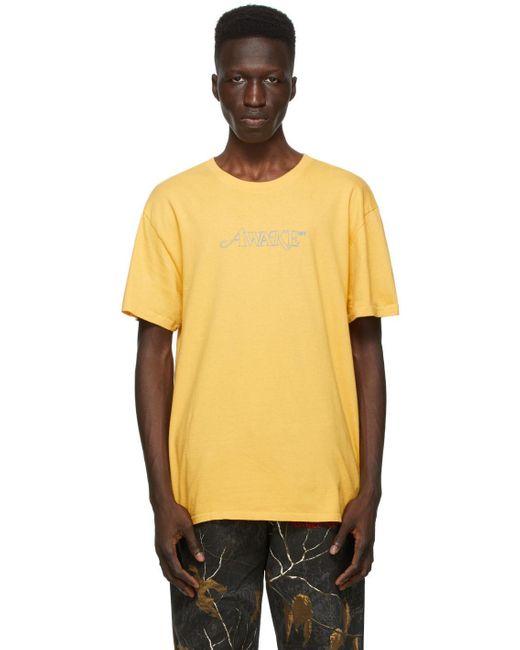 メンズ AWAKE NY イエロー クラシック アウトライン Logo T シャツ Yellow