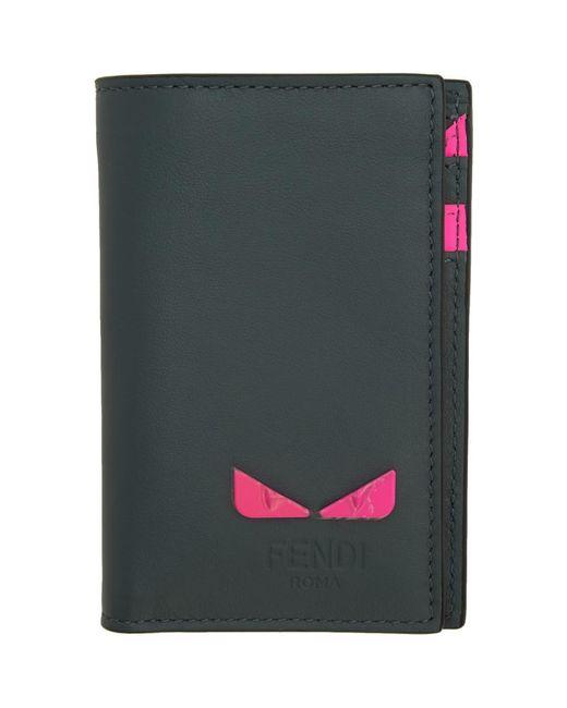 メンズ Fendi グレー And ピンク バーティカル カード ホルダー Multicolor