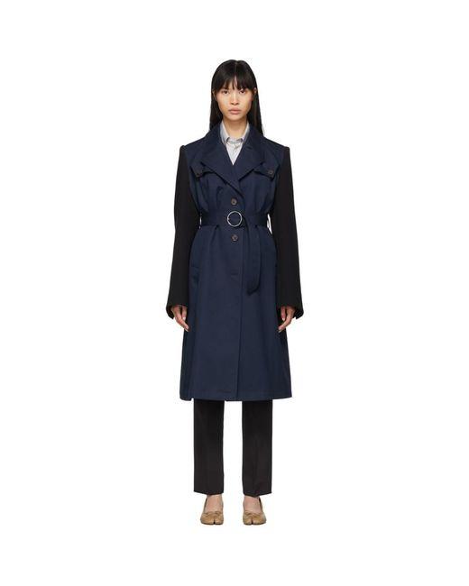 Maison Margiela ネイビー And ブラック コットン ツイル トレンチ コート Blue