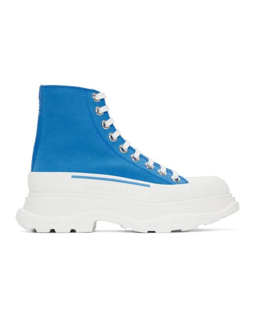 Alexander McQueen Ssense Exclusive Blue Tread Slick Platform High Sneakers