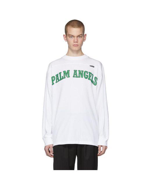 メンズ Palm Angels ホワイト New College ロゴ オーバー ロング スリーブ T シャツ White