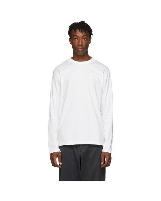 メンズ Y-3 ホワイト ロゴ ロング スリーブ T シャツ White