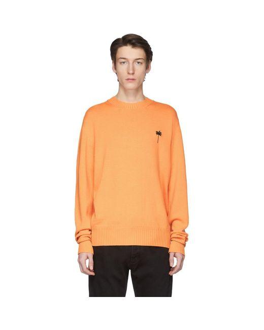 メンズ Palm Angels ブラック Palm X Palm クラシック セーター Orange